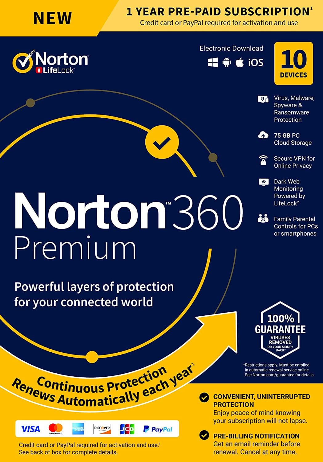 Norton 360 Premium – Antivirus Software for 10 Devices with Auto Renewal -Includes VPN,PC Cloud Backup & Dark Web Monitoring Powered by LifeLock [Key card] - $29.99 & FREE Shipping