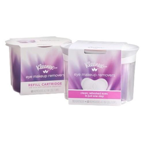 Kleenex Eye Makeup Removers, Refillable Dispenser & Refill Cartridge, 120 Total Removers $8.5@amazon