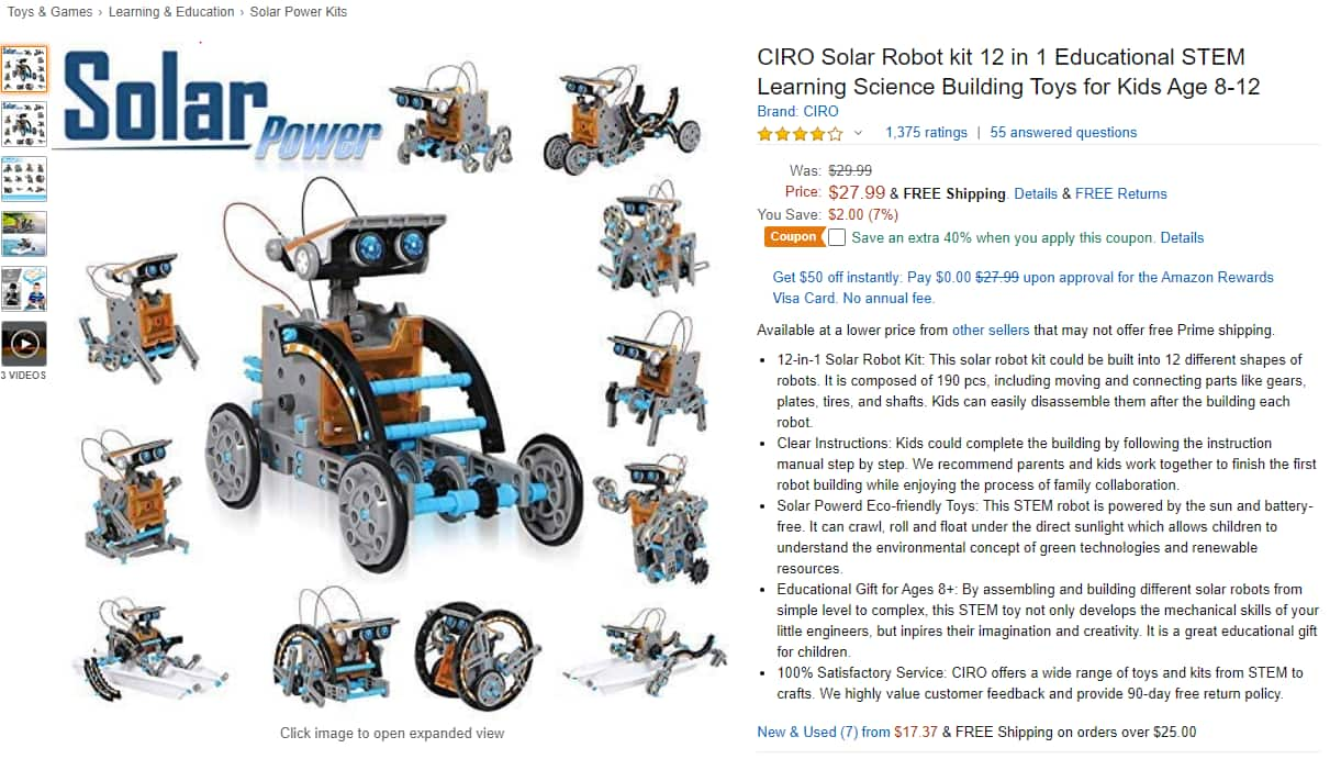 Amazon.com - CIRO Solar Robot Creation Kit, 12-in-1 Solar Robot Kit for Kids, STEM Educational Science Toys with Working Solar Powered Motorized Engine and Gears $16.79