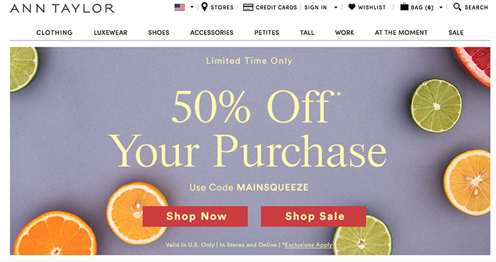 Extra 50% off Entire Purchase (includes clearance) at Ann Taylor.com