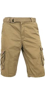 Hat and Beyond Mens Twill Cargo Shorts Belt Hiking Camping Outdoor Summer $7