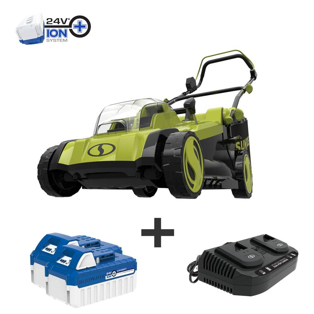Sun Joe 17 in. 48-Volt iON+ Cordless Electric Walk Behind Push Lawn Mower Kit with 2 x 4.0 Ah Batteries Plus Charger - $179