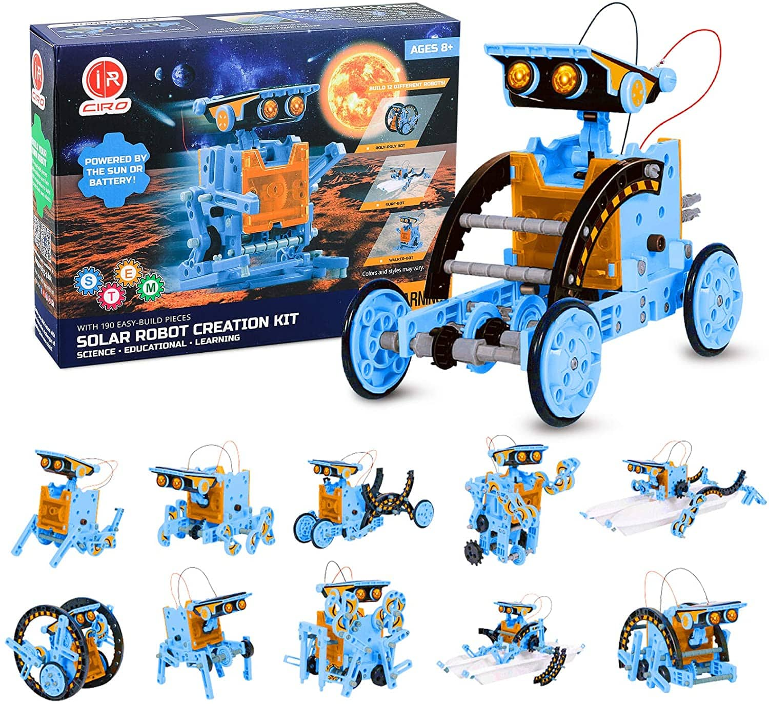 Stem Project Toys for Kids, 12 in 1 Solar Robots Science Experiments Kit for Boys, Solar and Cell Powered Educational Stem Robot Building Set $11.28 amazon