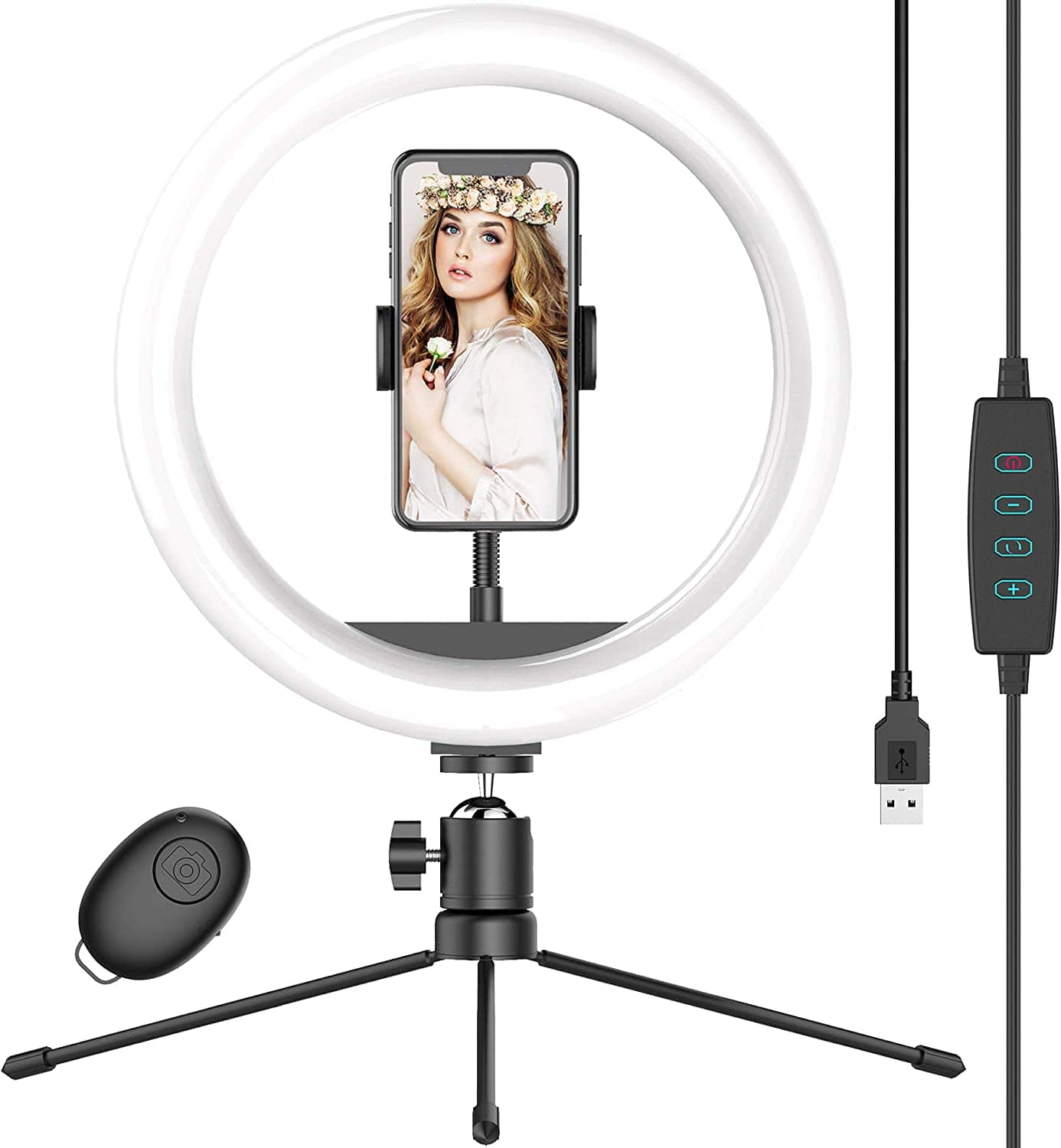 """10"""" Selfie Ring Light with Tripod Stand & Phone Holder $9.91"""