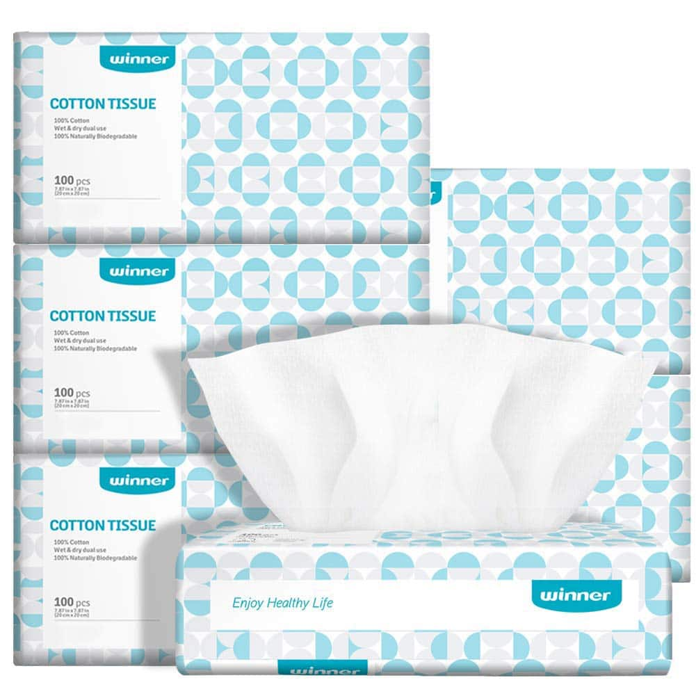 Winner Soft Dry Wipe, Made of Cotton Only, 600 Count Unscented Cotton Tissues for Sensitive Skin $21.44 at WinnerMedical via Amazon