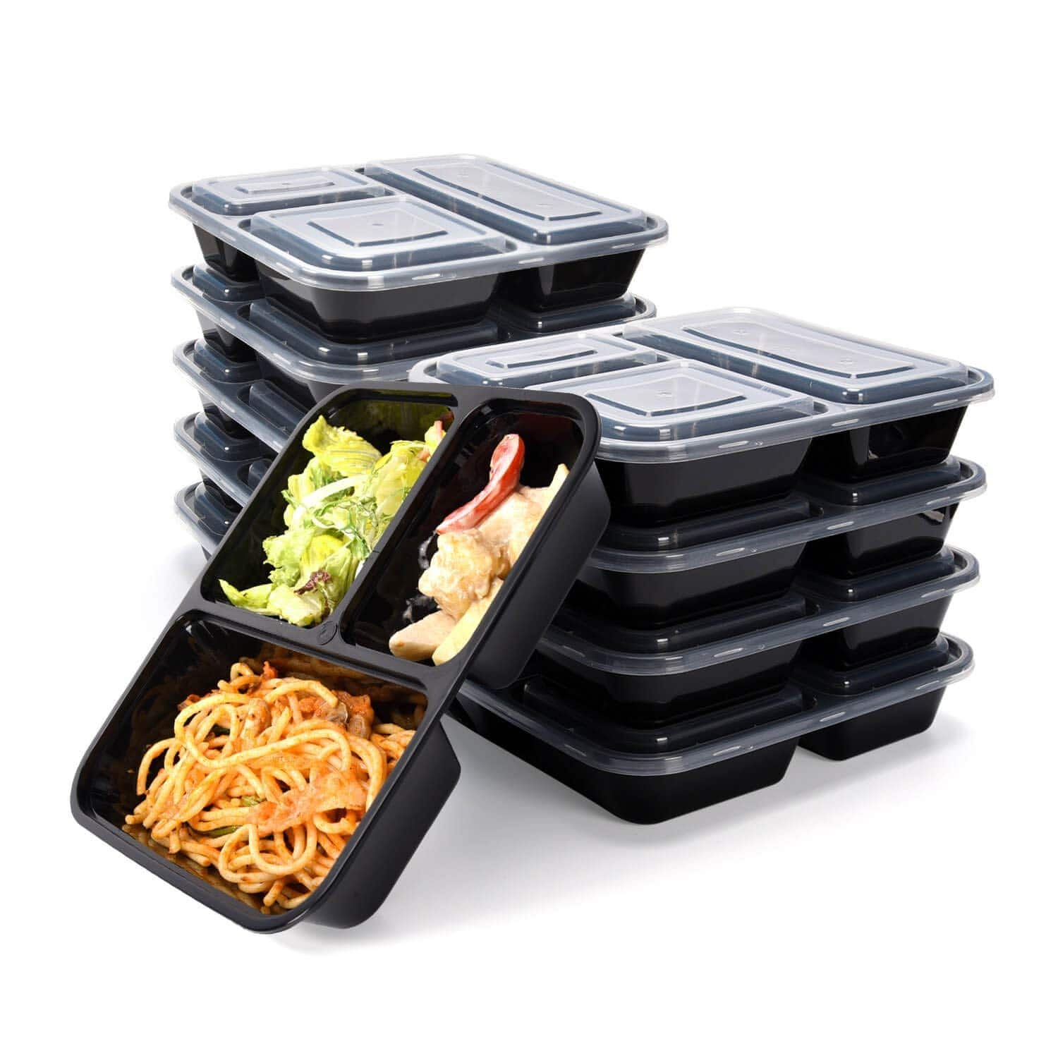 Meal Prep Containers 3 Compartments-JACKYLED 10-pack Lunch Boxes Set, $7.01