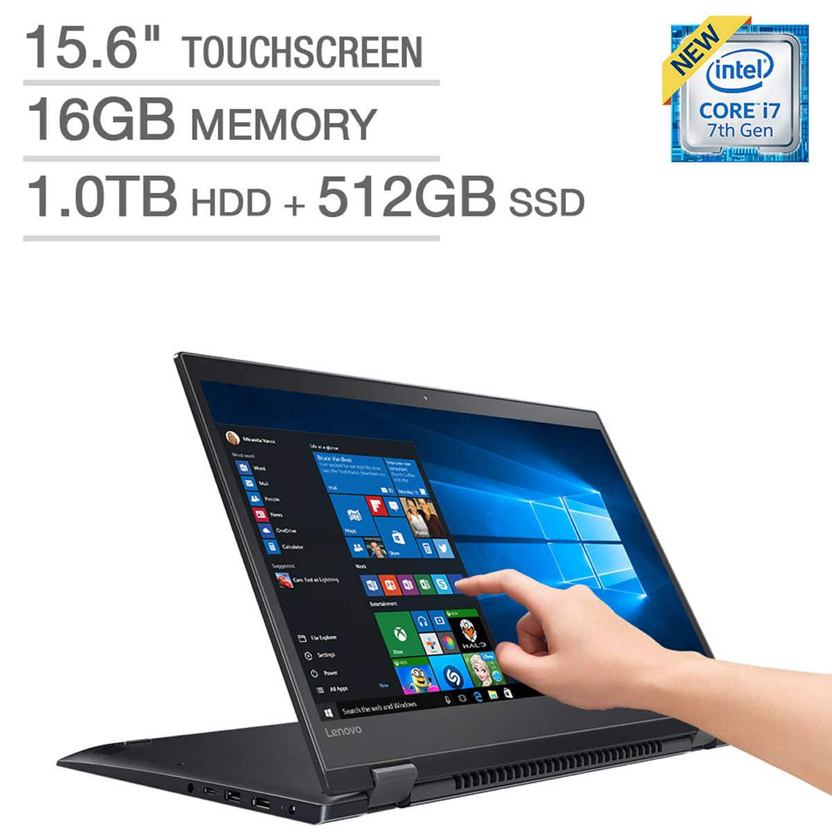 "Lenovo Flex 5 15 2-in-1: 15.6"" 4K IPS Touch, i7-7500U, 16GB DDR4, 512GB PCIe SSD, 1TB HDD, GT 940MX, Type-C, Win10, 4.4 lbs, @ $999 @ Costco"