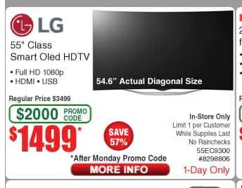 "Frys In-Store Today only - LG 55"" Curved Oled Smart TV - 55EC9300 - $1499"