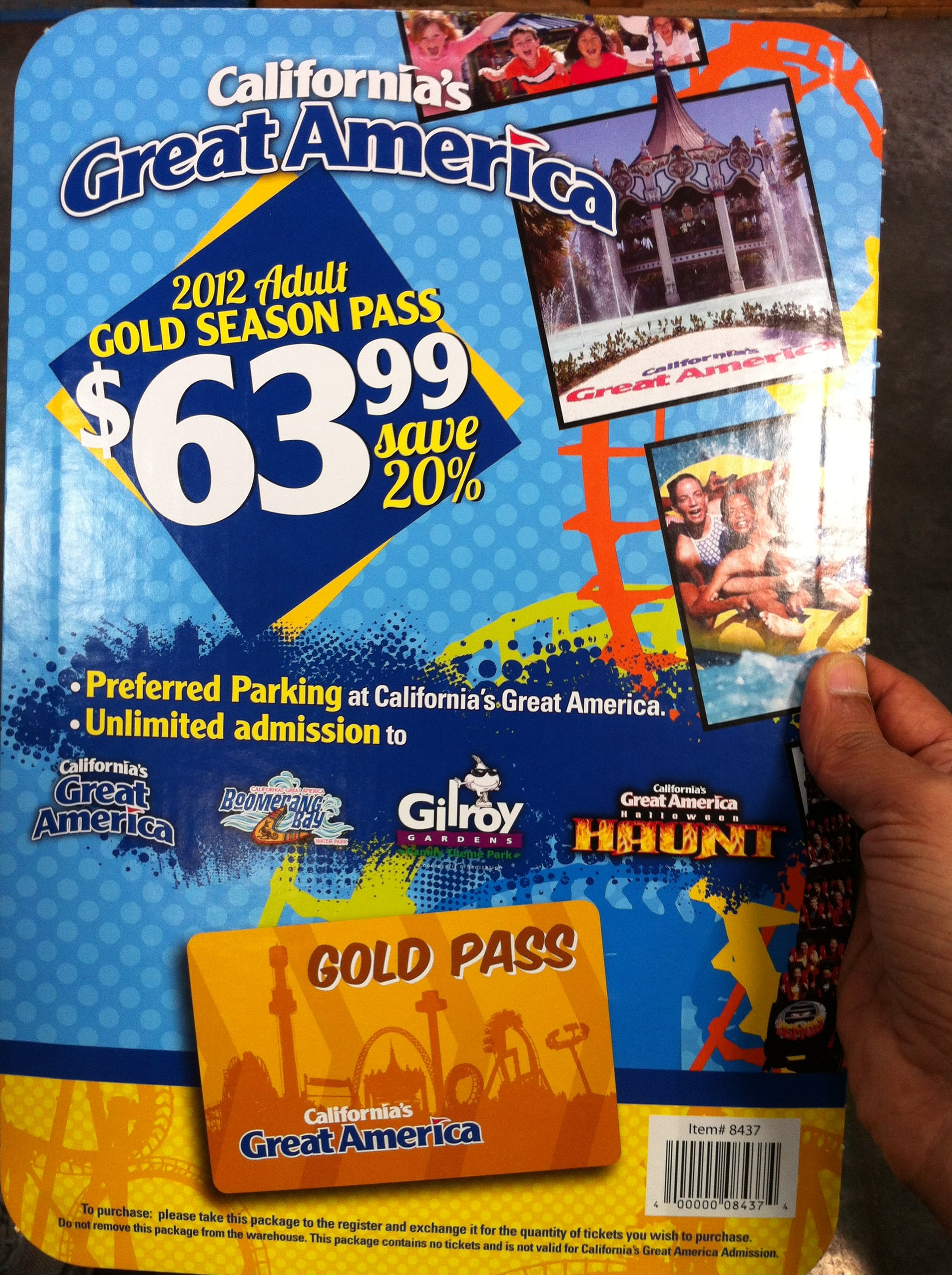 costco - california great america adult gold season pass $64