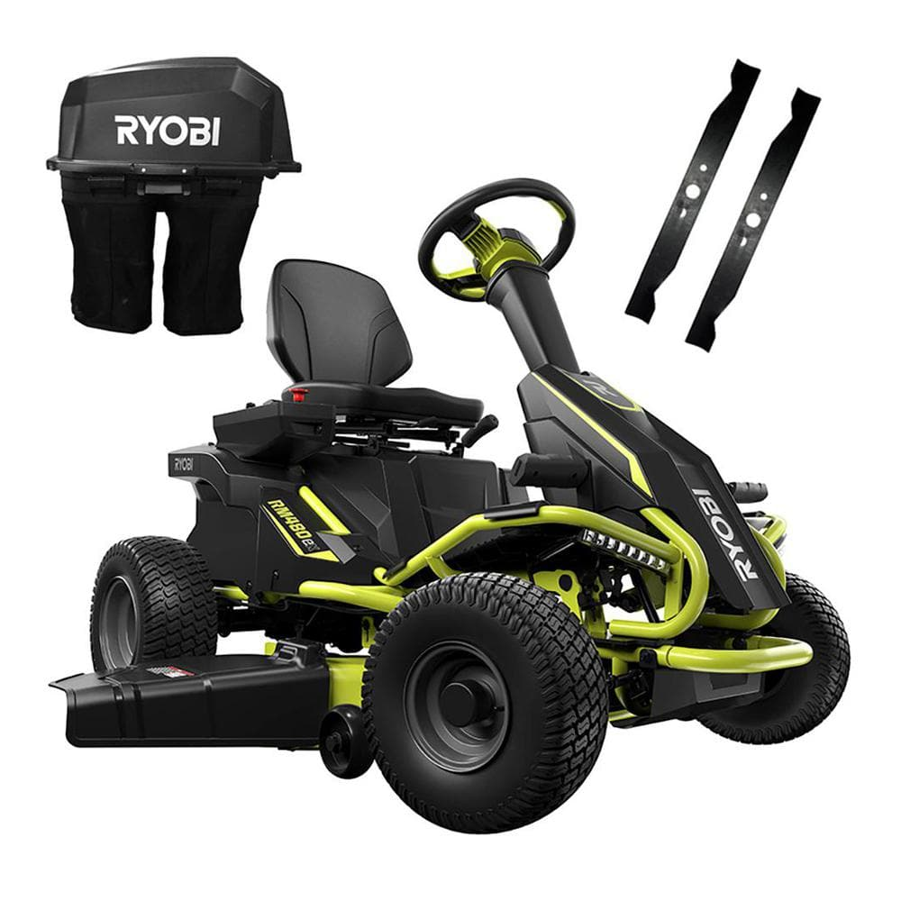 Ryobi 38 in. 100 Ah Battery Electric Rear Engine Riding Lawn Mower and Bagging Kit $2800