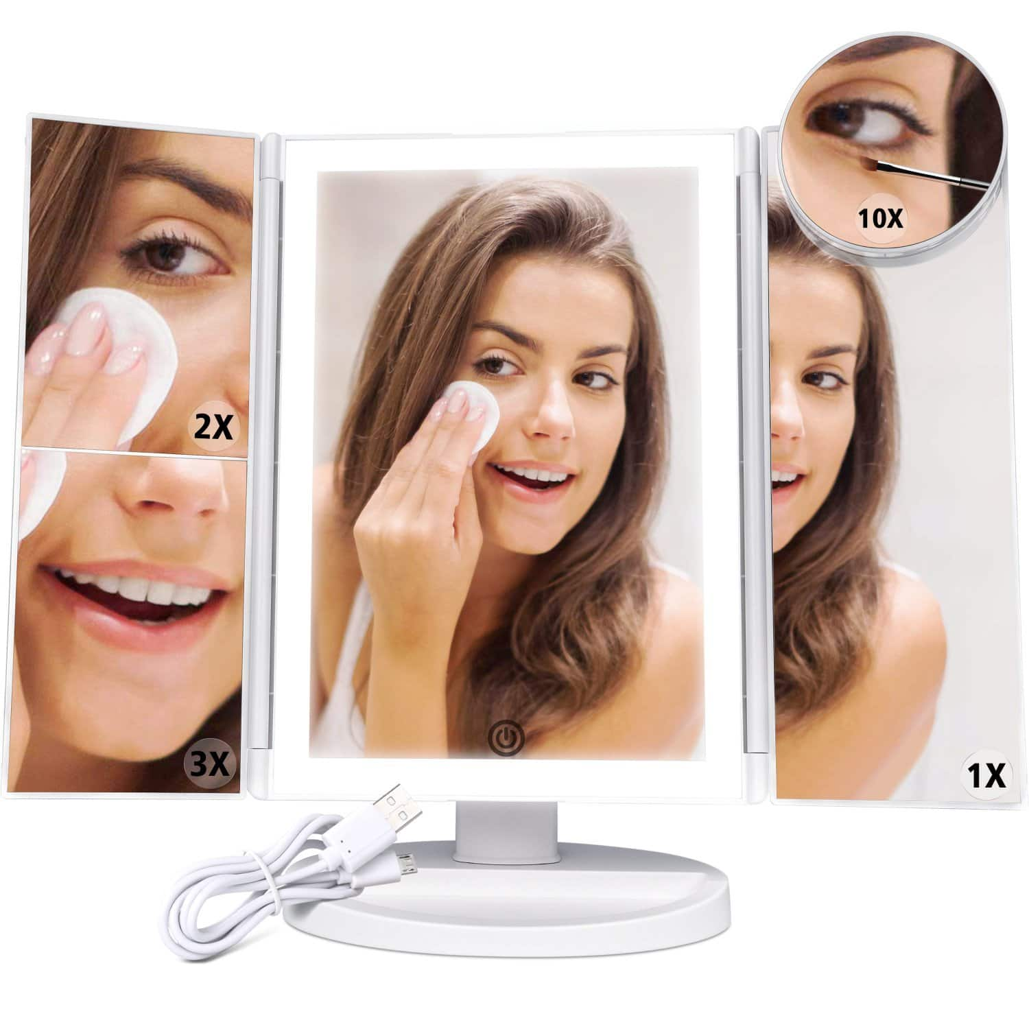 F-color 2x/3x/10x Magnifying 4 Sides LED Light Bars Makeup Mirror for $18.99 Shipped w/Prime