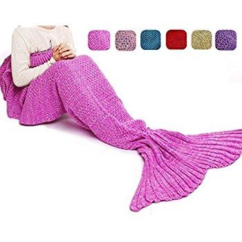 DDMY Knit Crochet Mermaid Blanket for Kids $9.98