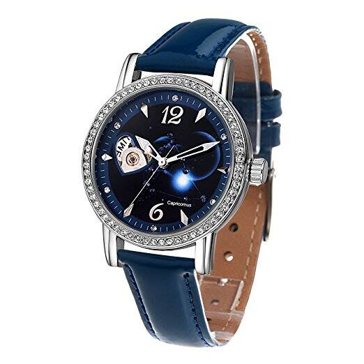 Time100 Constellation Luminous Swarovski Crystal Accented Leather Strap Skeleton Mechanical Women's Watch $29.99 + free shipping