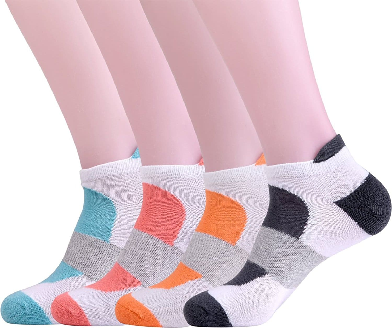 Women's 4 Outdoor Sports White and Colorful Patterned Low Cut Cotton Socks $6.24 + free shipping