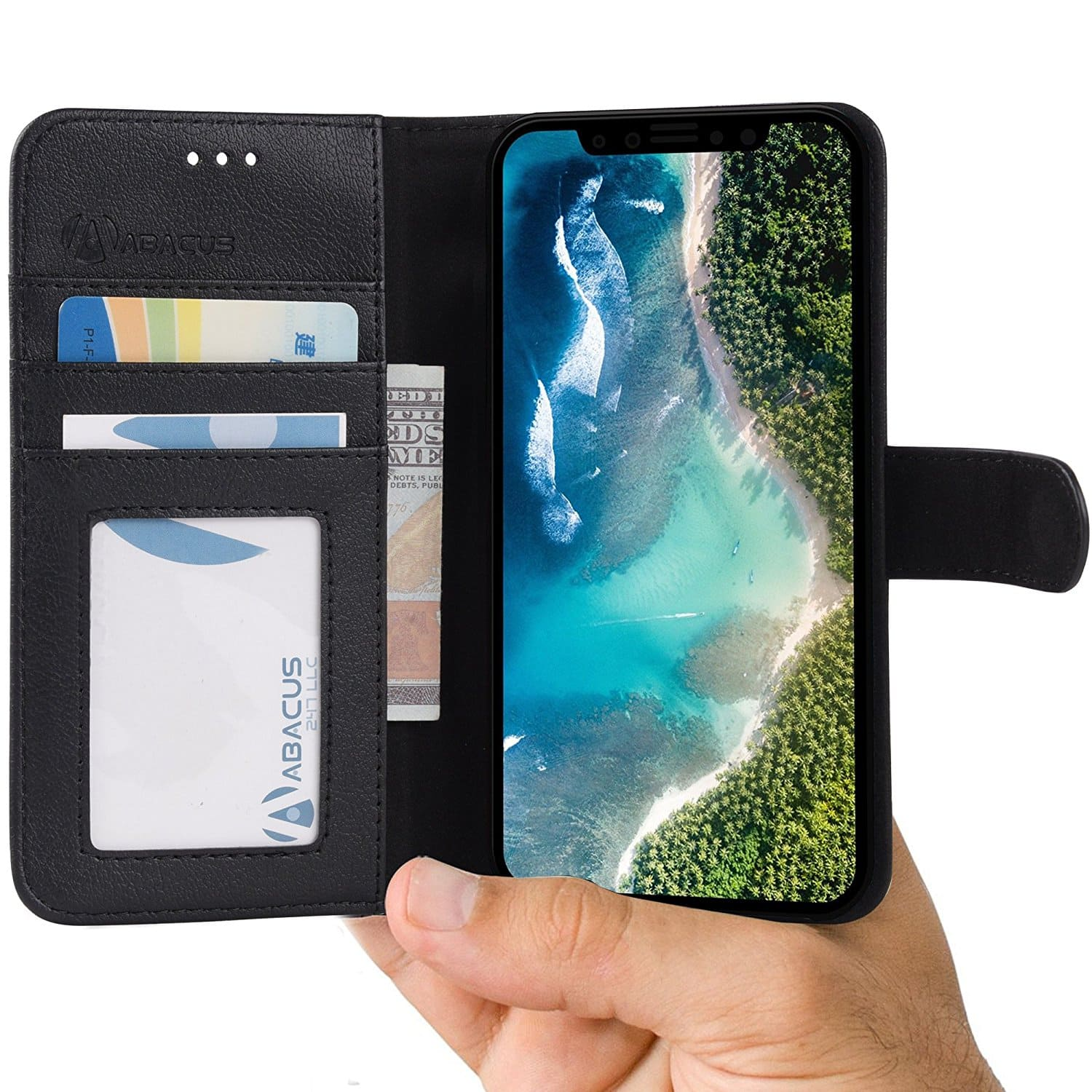 Abacus24-7 iPhone X Case, Leather Wallet $2.98 + free shipping