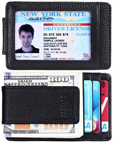 Money Clip, Front Pocket Wallet, Leather RFID Blocking Strong Magnet thin Wallet $8.96