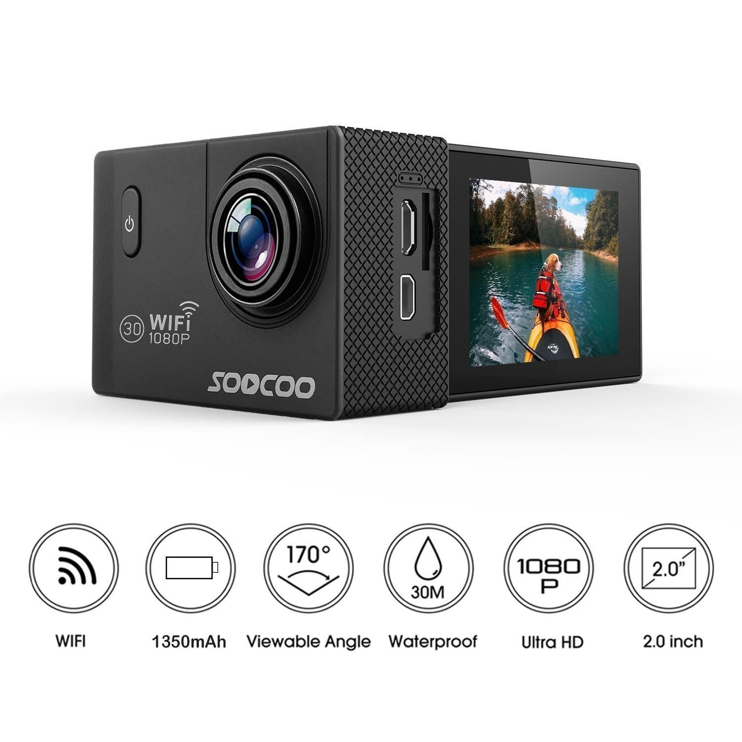 WiFi Action Camera Full HD 1080P 30M Waterproof w/170 Degree Wide Angle $27.29+Free Shipping