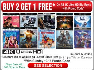 Buy 2 Get 1 Free on all 4K UHD Movies at Frys Electronics