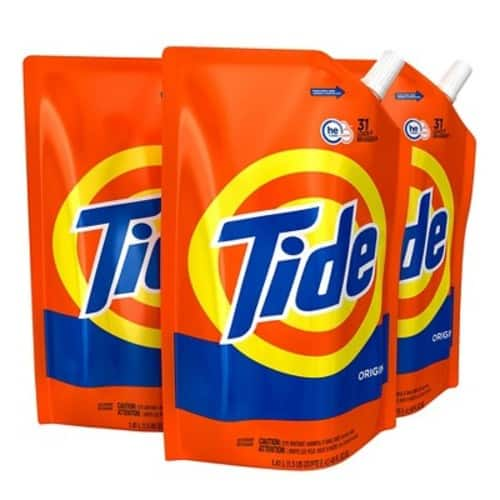 Tide Liquid Laundry Detergent Smart Pouch, Original Scent, HE Turbo Clean, Pack of three 48 oz. pouches, 93 loads $14.49 at Amazon