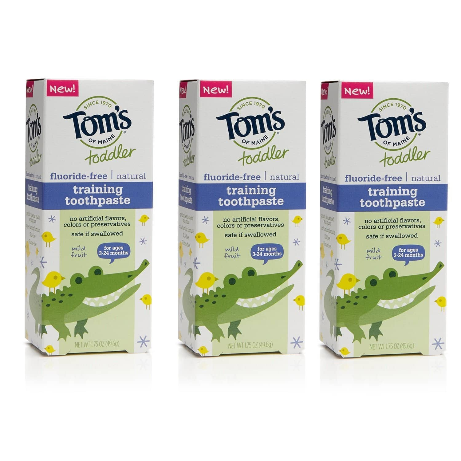 Tom's of Maine Toddlers Fluoride-Free Natural Toothpaste in Gel, Mild Fruit, 1.75 Ounce, 3 Count $6.96+ fs@amazon