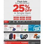 Sports Authority Flash Sale 25% off a single item with free shipping on clothes, shoes and fan gear.