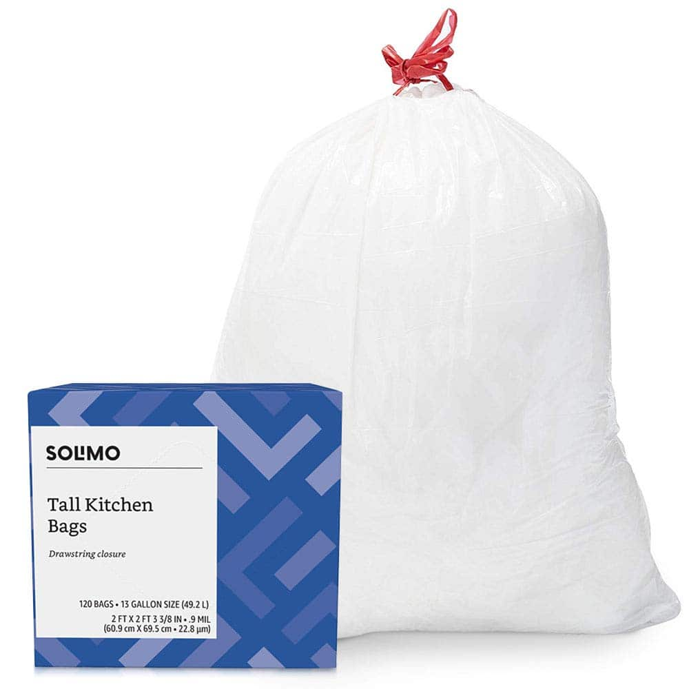 Select Amazon accounts Amazon Brand - Solimo Multipurpose Drawstring Trash Bags, 30 Gallon, 50 Count $5.50 or less with S&S 15% or 13 Gallon, 120 Count $7.25