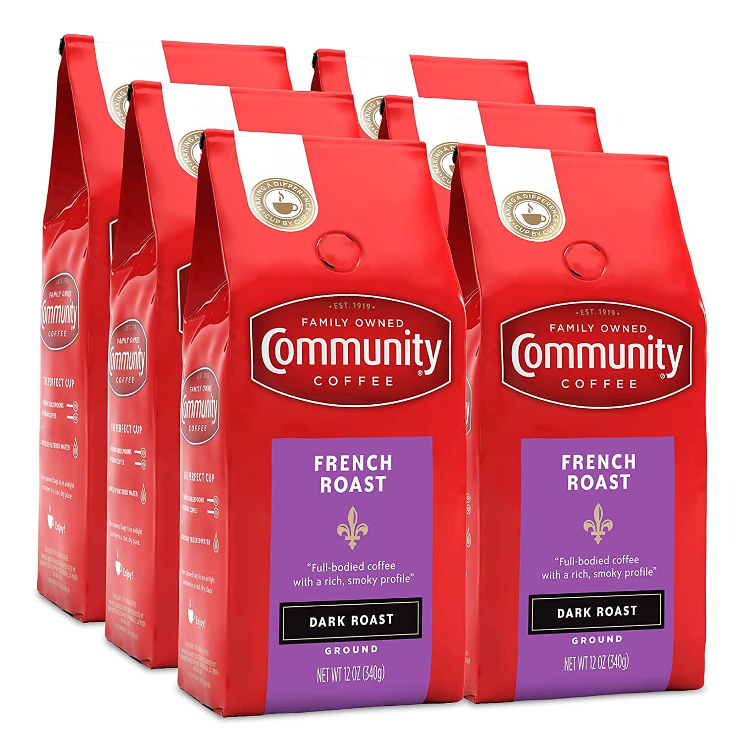 6-Pack 12-Oz Community Coffee French Roast Extra Dark Roast Ground Coffee $16.58 or Less w/ S&S + Free S&H w/ Prime or orders  $25+ ~Amazon