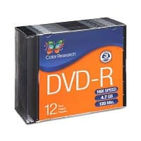 TigerDirect Deal: 12-Pack of 4.7GB 16x Color Research DVD-R w/ Slim Jewel Cases