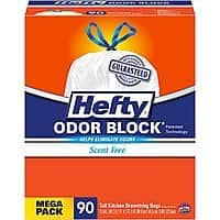 Amazon Deal: 90-Count 13-Gallon Hefty Odor Block Tall Kitchen Trash Bags