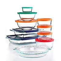 Macy's Deal: 19-Piece Pyrex Bake, Store and Prep Set w/ Colored Lids