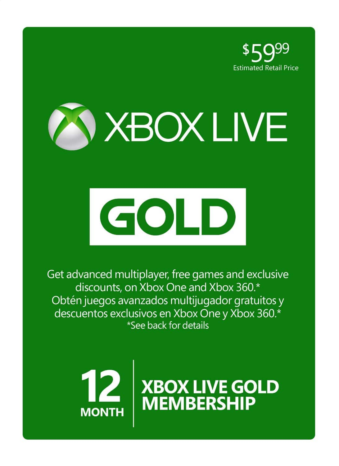 12-Month Microsoft Xbox Live Gold Membership (Email Delivery)  $32