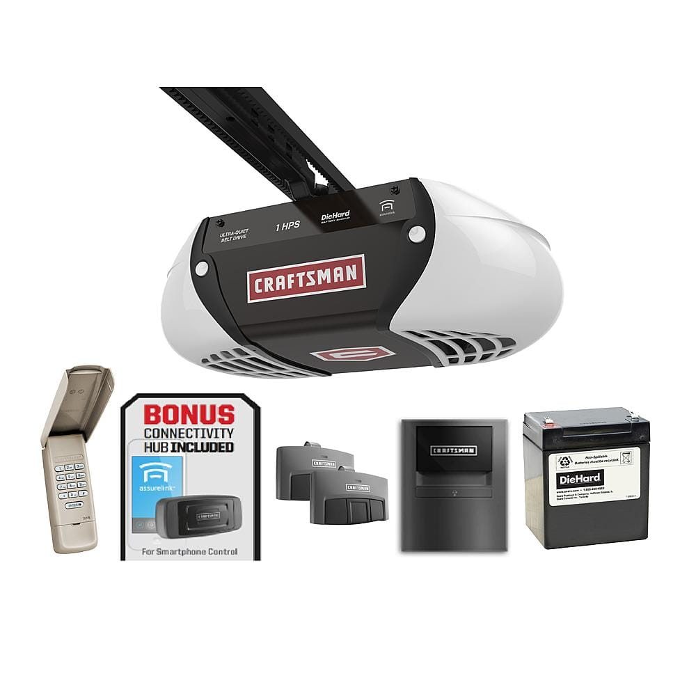 Craftsman  Belt Drive Garage Door Opener with BONUS Assurelink Gateway $189.99 ( Regular price $349.99 - Battery back-up - Belt Drive - Anti-burglary Coding ) Store Pick Up @ SEARS