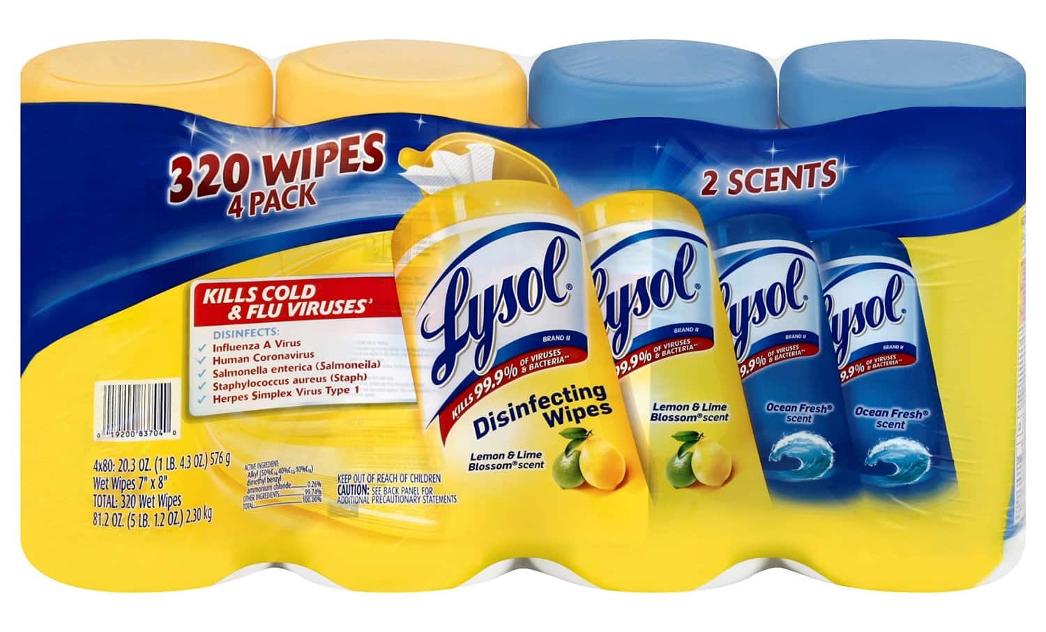 320-Count Lysol Disinfecting Wipes Value Pack (Lemon & Lime Blossom Scent & Ocean Fresh Scent) $7.79 Shipped w/ Prime Amazon.com