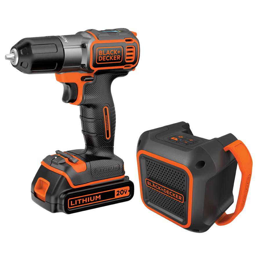Black and Decker: 20V  Drill/Driver + Wireless Bluetooth Speaker + 20-volt max Li-ion battery $50 w/store pick up (YMMV) ~ Lowes