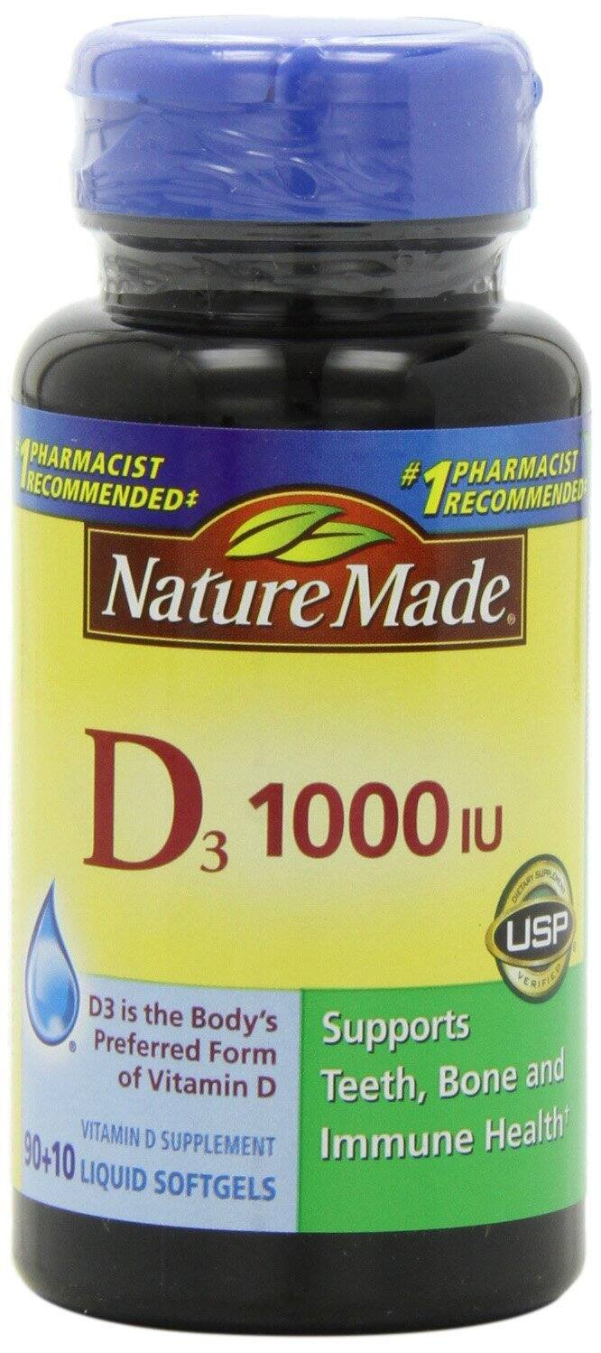 Nature Made Vitamin D3 1,000 I.u. Liquid Softgels - 100 Count Bottle - $2.32 AC & S&S ($1.97 AC & 5 S&S Orders) - Amazon