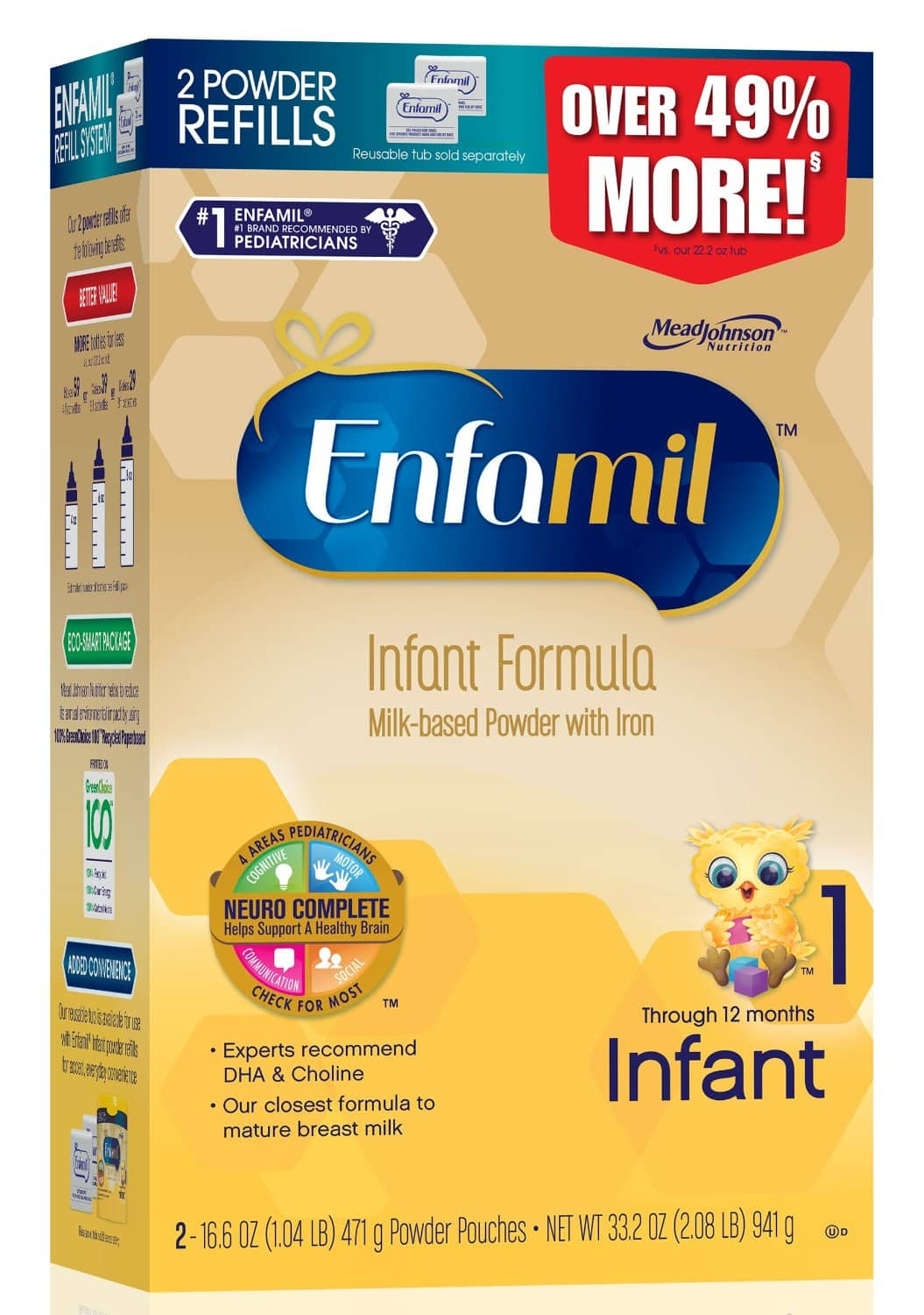 Enfamil Infant Baby Formula - 33.2 oz Refill Box for $25.98 + Prime Free Shipping