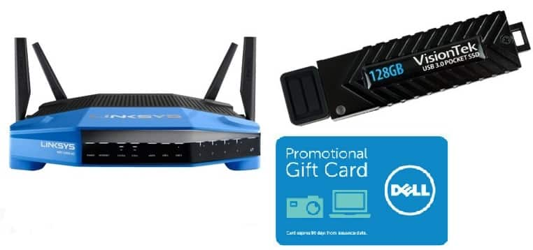 Linksys WRT1900AC Wireless router and VisionTek 128GB USB 3.0 Pocket SSD - $229.98 + $100 Dell Gift Card