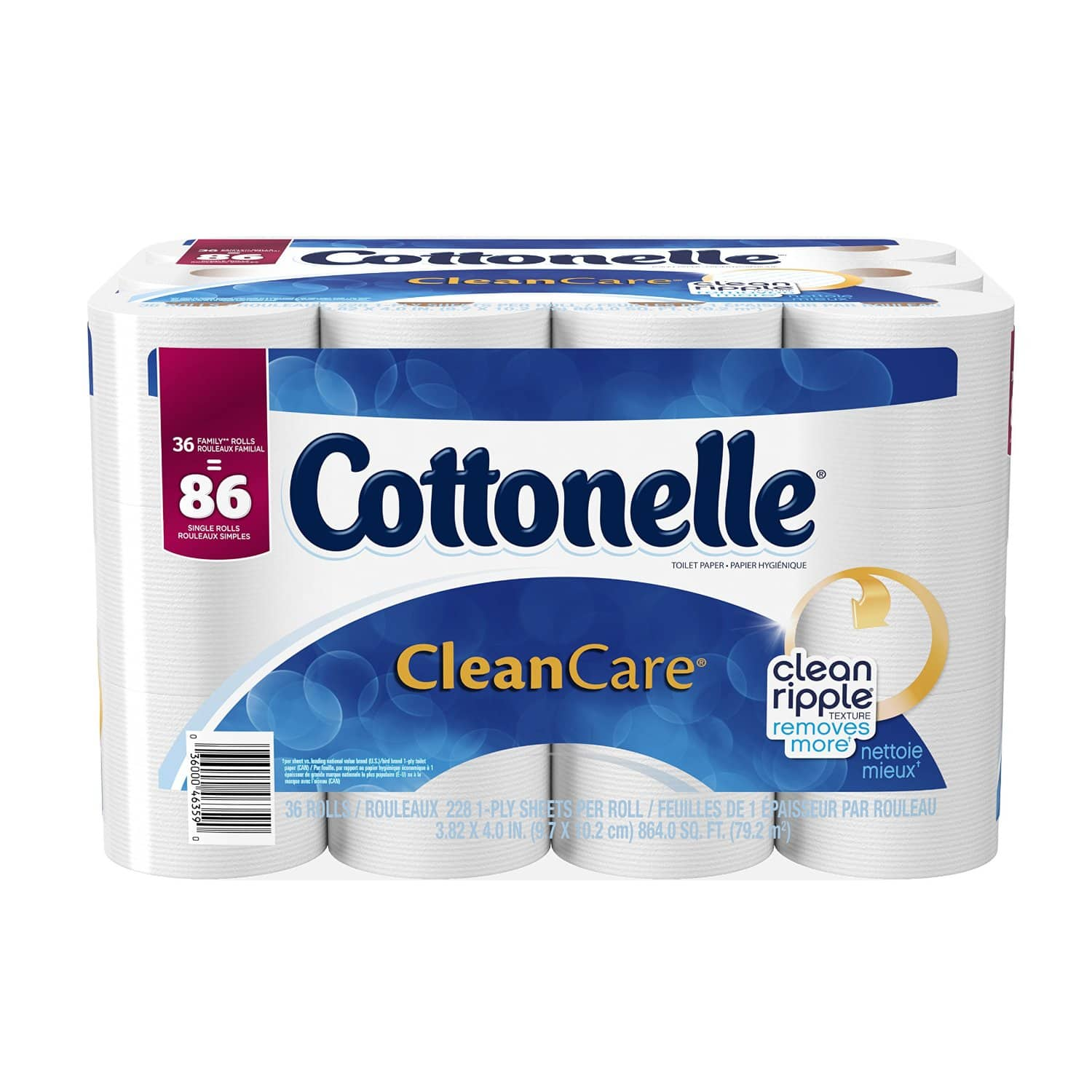 Cottonelle CleanCare Toilet Paper Bath Tissue, 36 Family Rolls (86 regular rolls) as low as $12.32 S&S Amazon Prime Day Deal