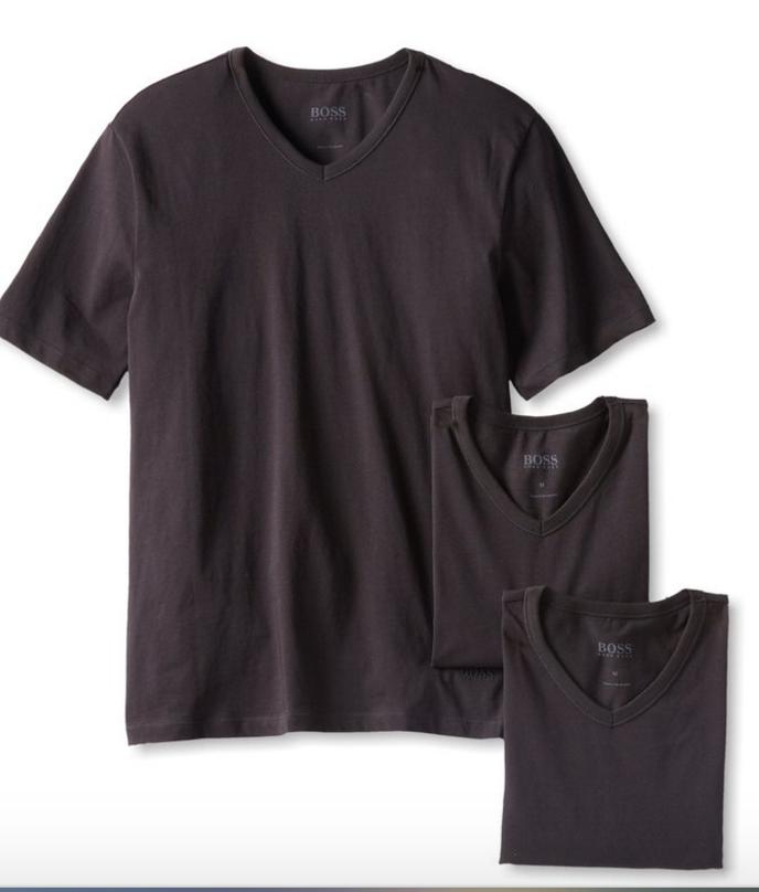 3-Pack Hugo Boss Men's Cotton V-Neck T-Shirt (Black)  $12