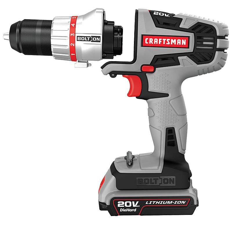 Craftsman Bolt-On 20-Volt Max Lithium Ion Drill/Driver $38.39, Bolt-On Attachments: Impact $12.79, Jig Saw $9.59 + Free Store Pickup ~ Sears Outlet