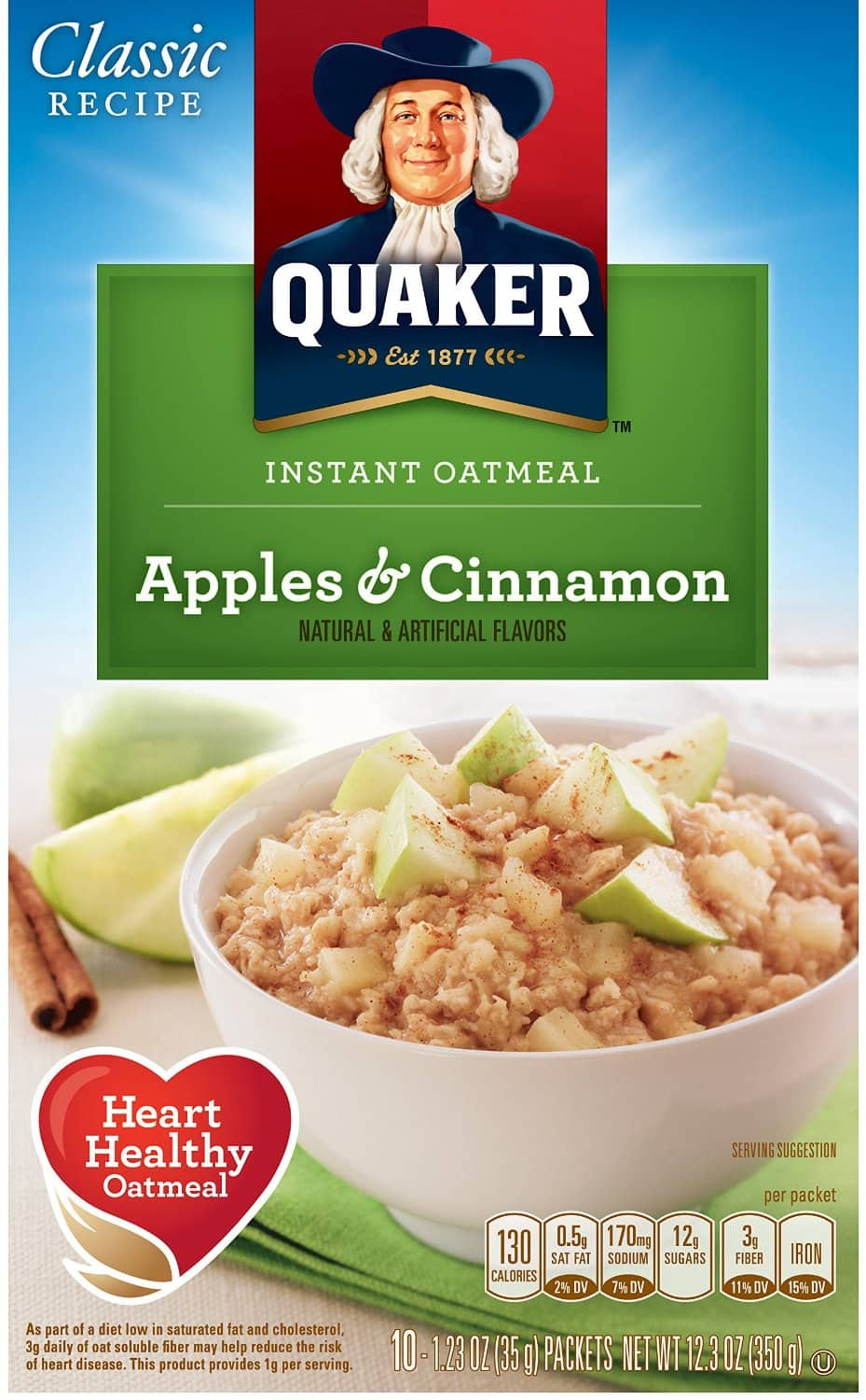 4 Pack of 10 Count Quaker Instant Oatmeal - Apples & Cinnamon - $7.73 AC S&S ($6.97 AC & 5 S&S Orders) + Free Shipping - Amazon