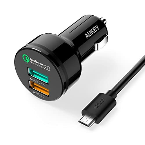 Aukey Quick Charge 2.0 30W 2-Port Car Charger + 3.3' Micro USB Cable  $6