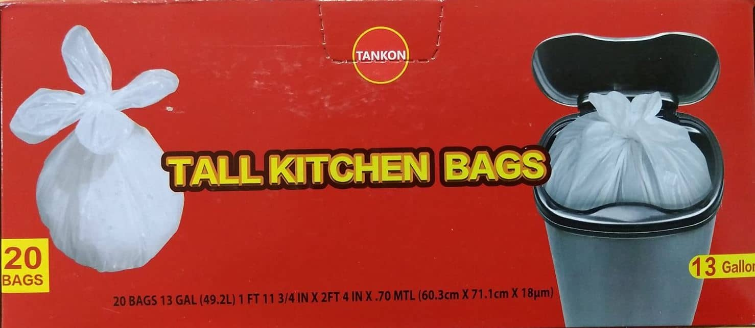Tankon Tall Kitchen bags 13 gallon, 20 count, 41 pound load for $1 free shipping(Prime)