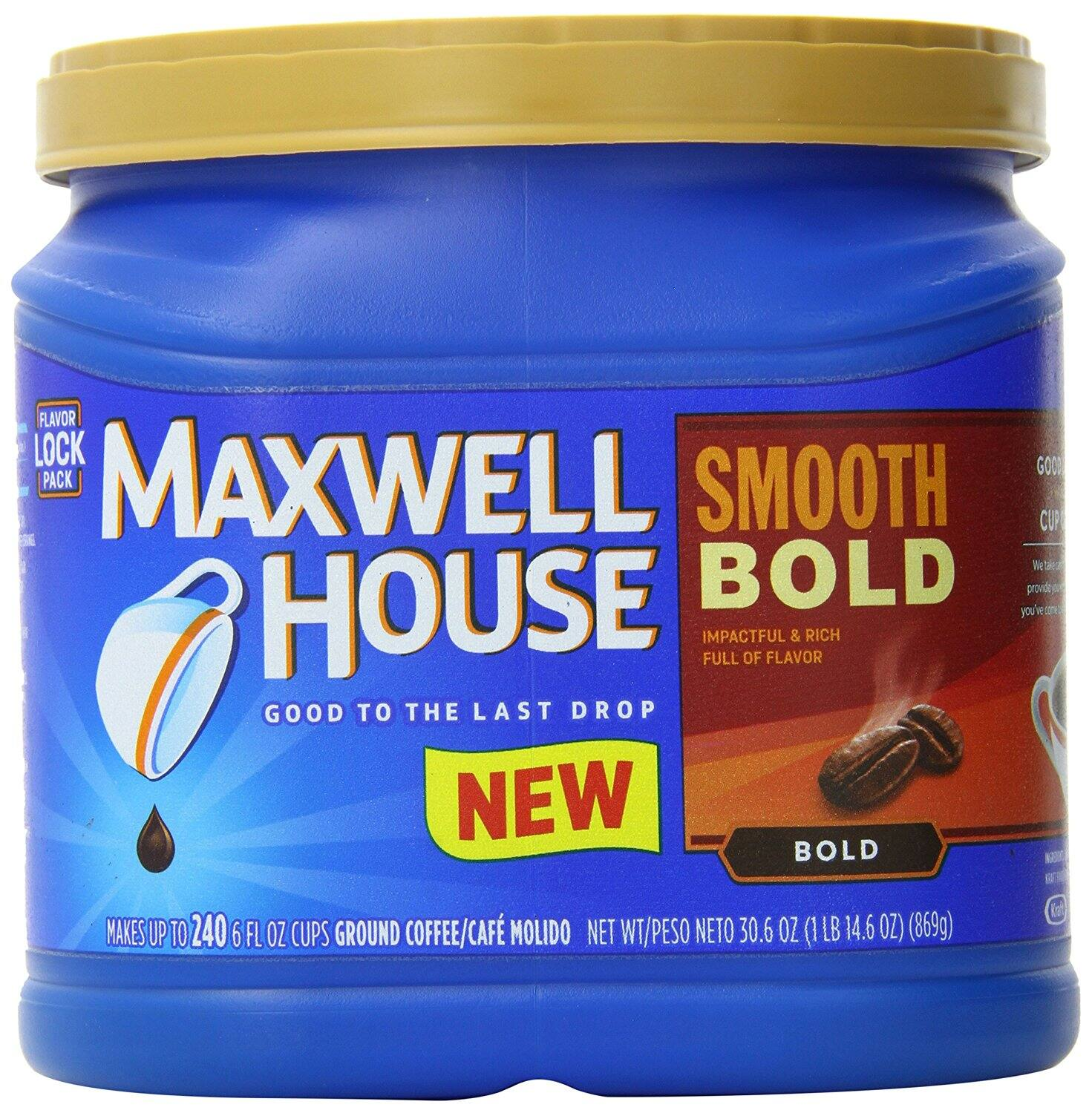30.6oz Maxwell House Ground Coffee (Smooth Bold) $4.71 AC+S&S @Amazon