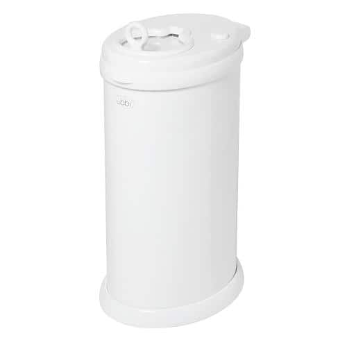 Ubbi Steel Diaper Pail: Gray $43, White  $40 + Free Shipping