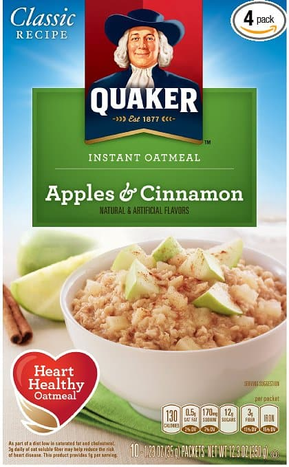 8-Pack of 10-Count Quaker Instant Oatmeal (Apples & Cinnamon)  $13.90 + Free Shipping