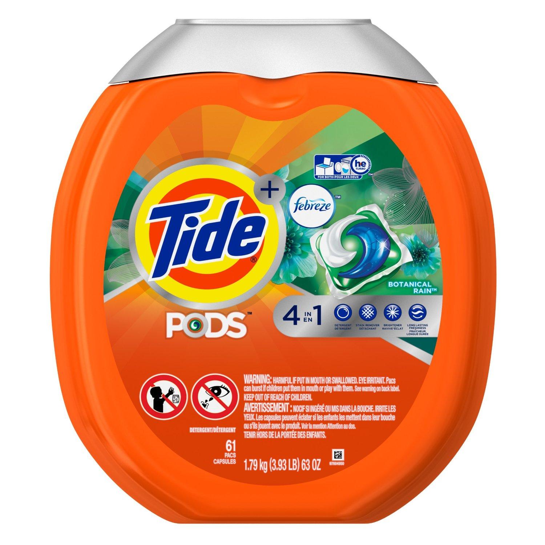 61-ct Tide Pods Plus Febreze He Turbo Laundry Detergent Pacs Tub, Botanical Rain: $12.09 (or $10.29) + FS @ Amazon S&S