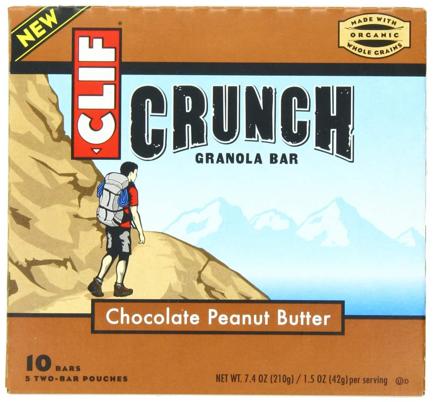 Cliff Crunch Bars 10-Count Box - Chocolate Peanut Butter or Peanut Butter for $2.83 or $2.84 or less w/S&S