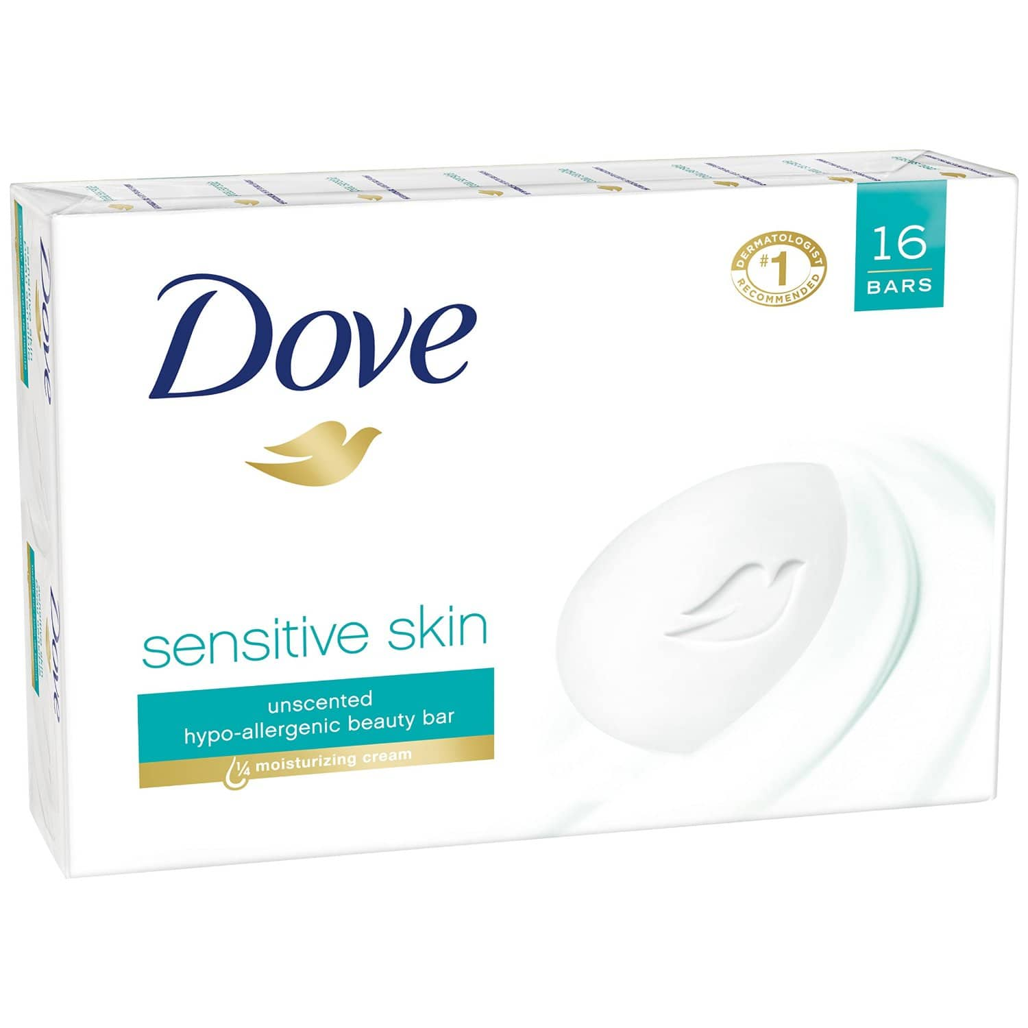 16-Count of 4oz Dove Sensitive Skin Bar Soap (Unscented) - $12.00 (or less) Using $2 Clipped Coupon (on product page) + 15/% S&S + Free Shipping @amazon.com