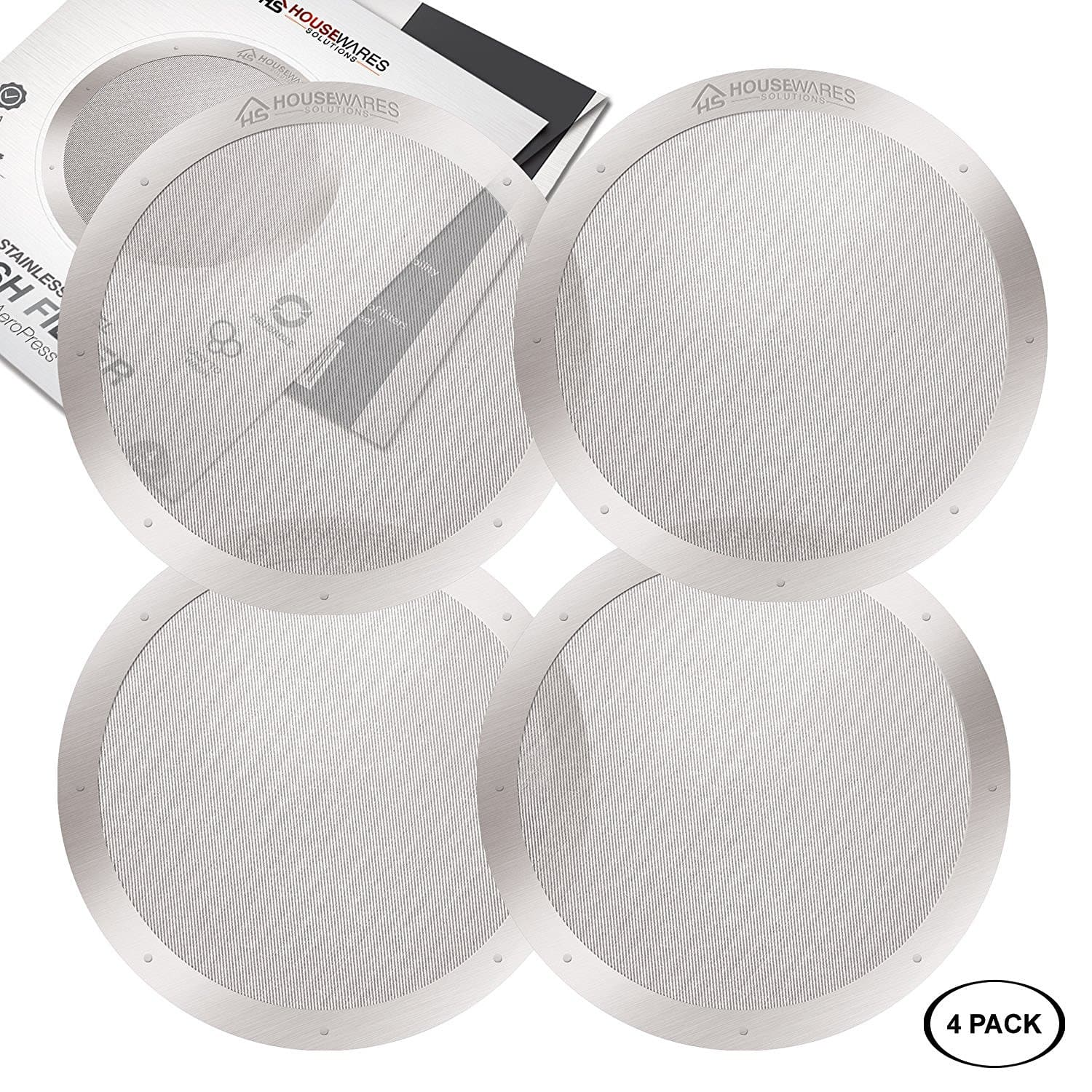4-Pack Reusable Stainless Steel Filters for AeroPress - $1 after coupon -  Amazon free prime shipping